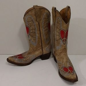 Corral Heart & Wings Boho Cowboy Boot Leather VrGd